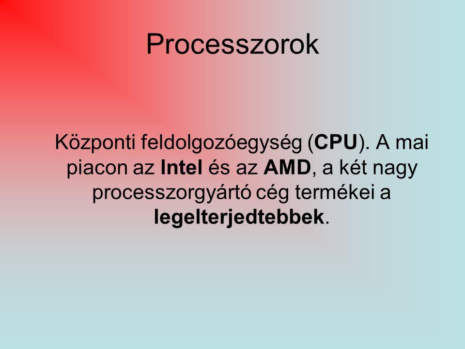 Processzorok Központi feldolgozóegység (CPU).
