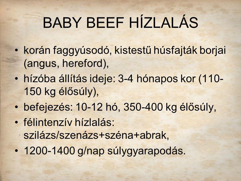 BABY BEEF HÍZLALÁS korán faggyúsodó, kistestű húsfajták borjai (angus, hereford), hízóba állítás ideje: 3-4 hónapos kor (110-150 kg élősúly),