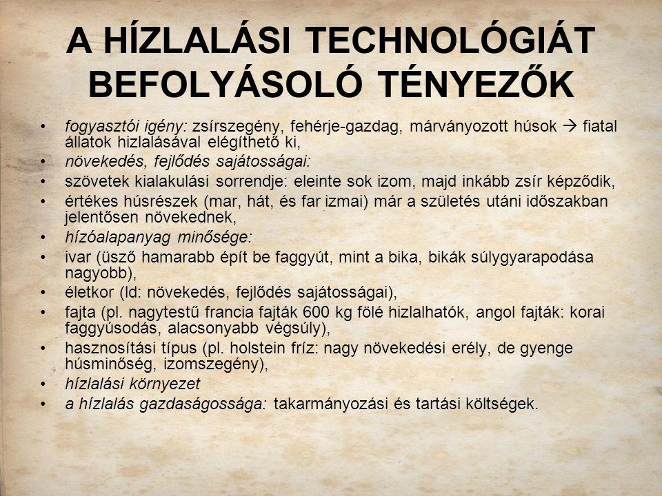 A HÍZLALÁSI TECHNOLÓGIÁT BEFOLYÁSOLÓ TÉNYEZŐK