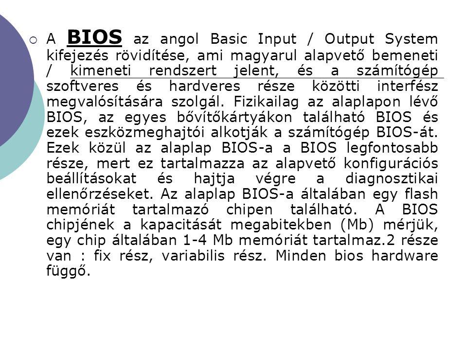 A BIOS az angol Basic Input / Output System kifejezés rövidítése, ami magyarul alapvető bemeneti / kimeneti rendszert jelent, és a számítógép szoftveres és hardveres része közötti interfész megvalósítására szolgál.
