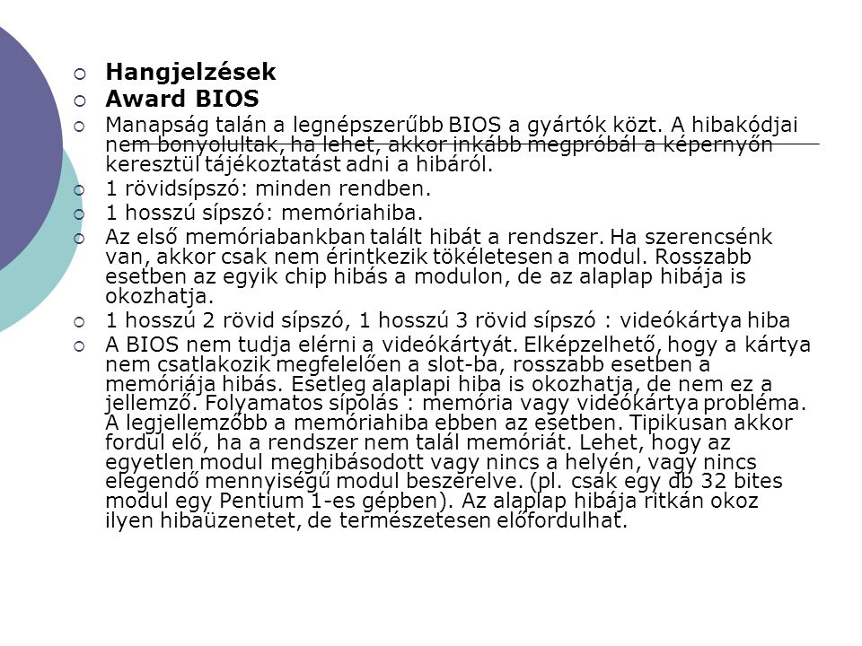 Hangjelzések Award BIOS