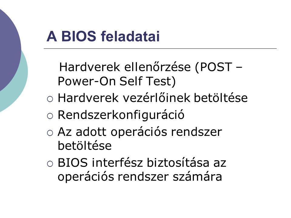 A BIOS feladatai Hardverek ellenőrzése (POST – Power-On Self Test)