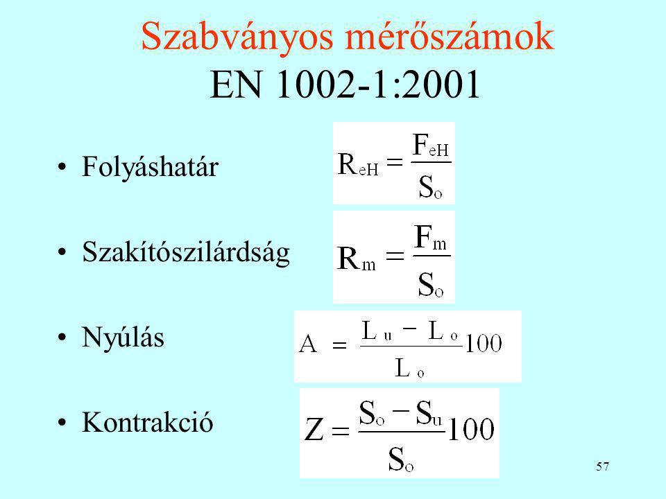 Szabványos mérőszámok EN 1002-1:2001