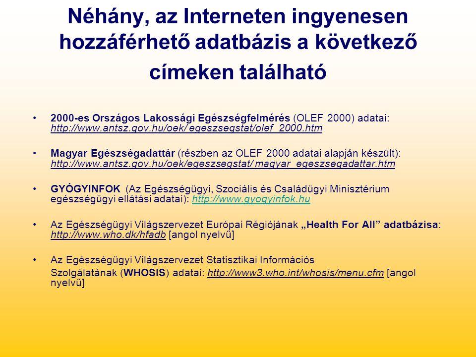 Néhány, az Interneten ingyenesen hozzáférhető adatbázis a következő címeken található