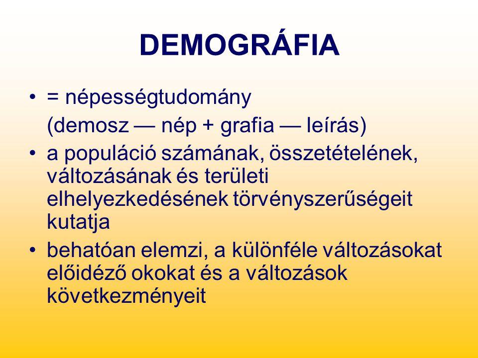 DEMOGRÁFIA = népességtudomány (demosz — nép + grafia — leírás)