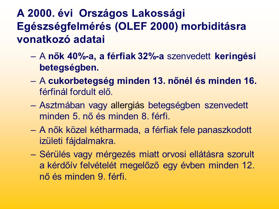 A 2000. évi Országos Lakossági Egészségfelmérés (OLEF 2000) morbiditásra vonatkozó adatai