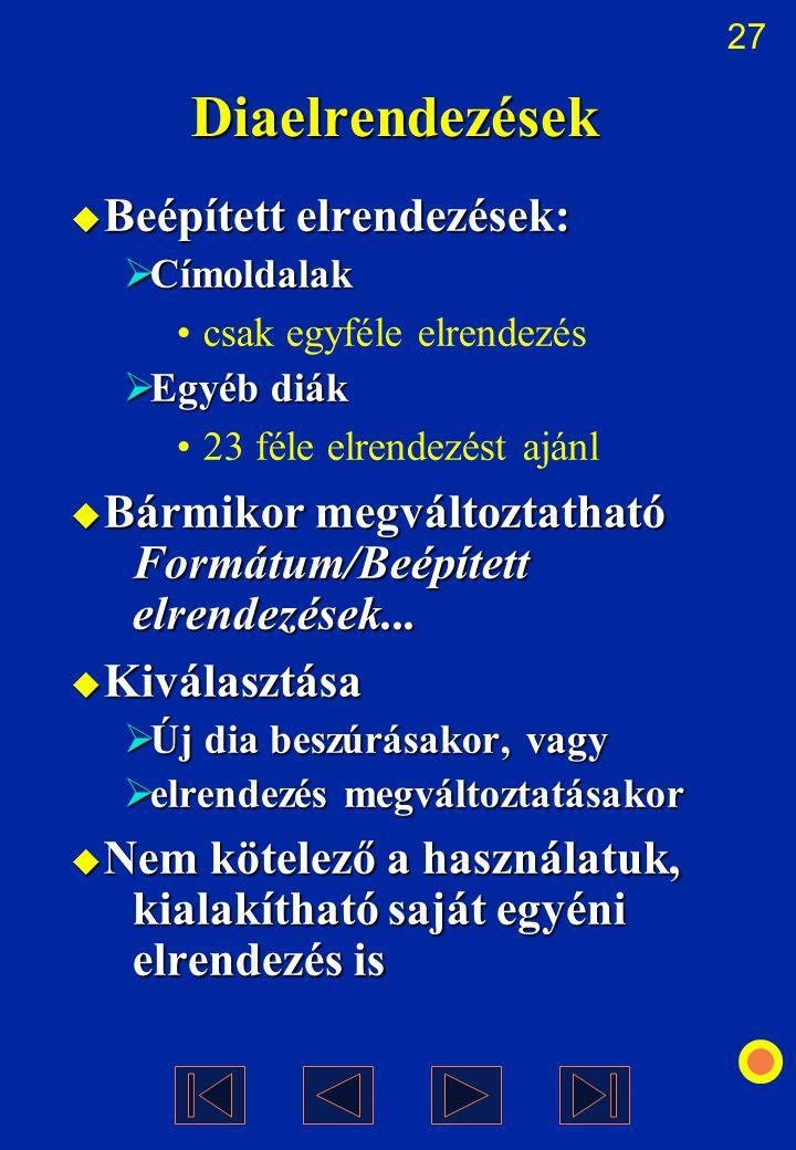 Diaelrendezések Beépített elrendezések: