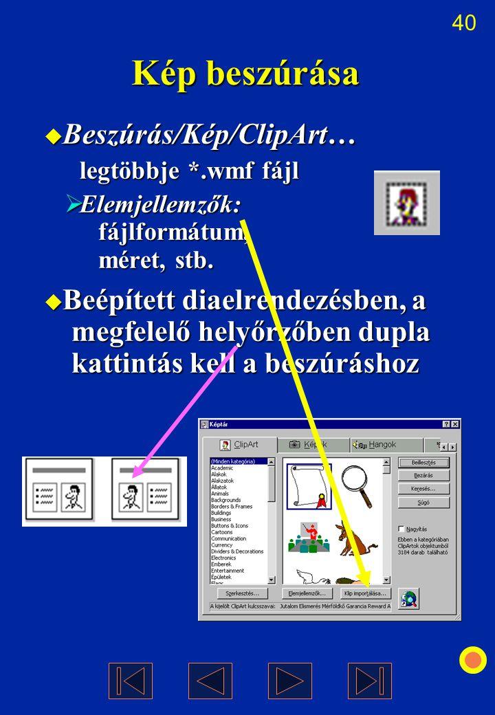 Kép beszúrása Beszúrás/Kép/ClipArt…