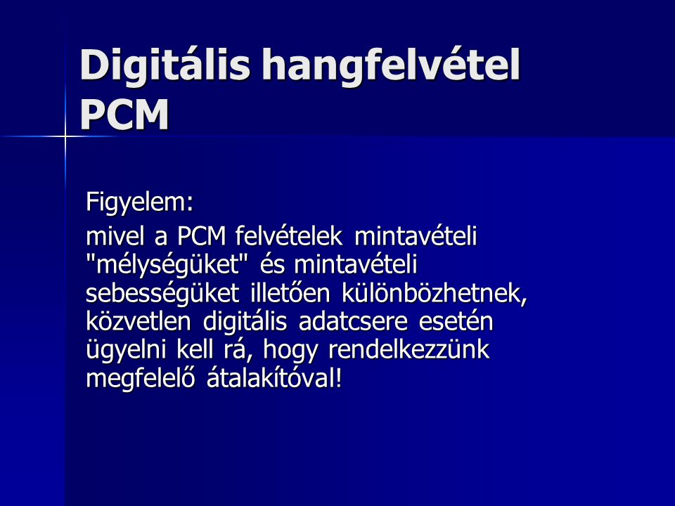 Digitális hangfelvétel PCM