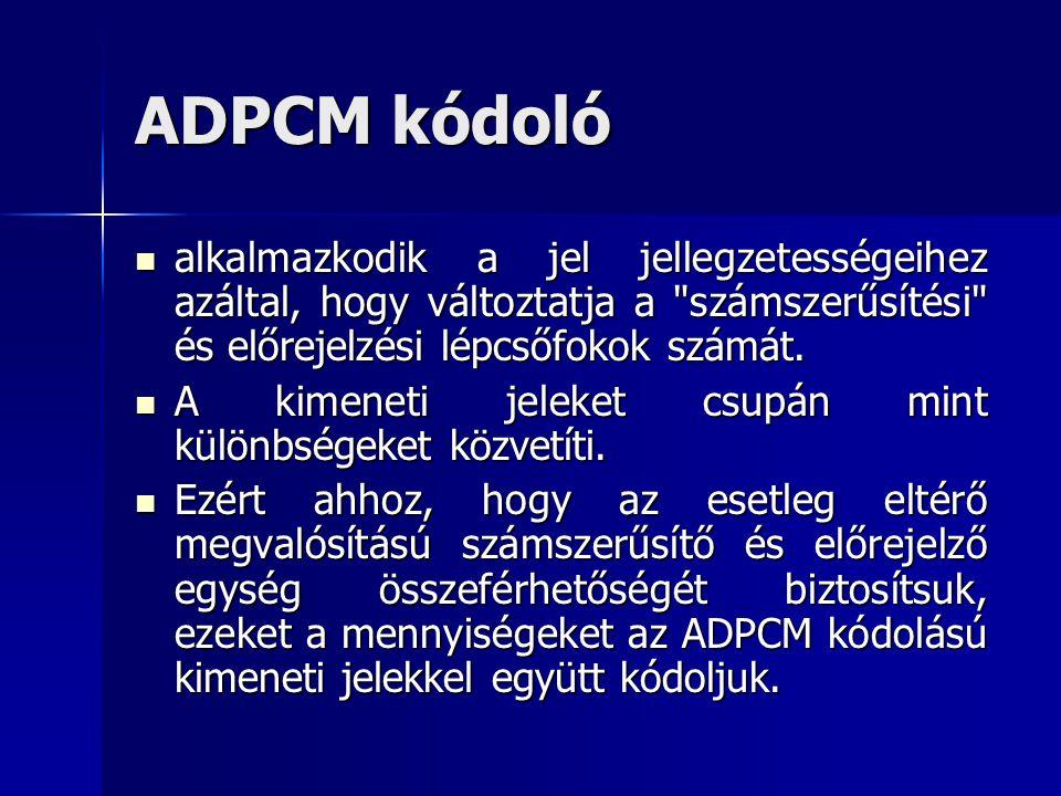 ADPCM kódoló alkalmazkodik a jel jellegzetességeihez azáltal, hogy változtatja a számszerűsítési és előrejelzési lépcsőfokok számát.