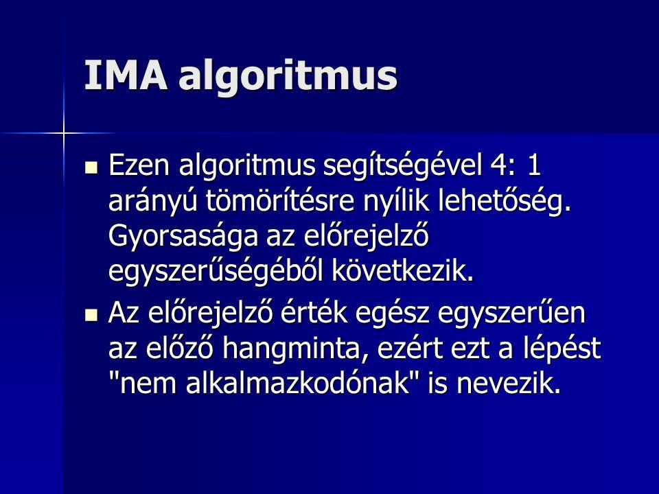 IMA algoritmus Ezen algoritmus segítségével 4: 1 arányú tömörítésre nyílik lehetőség. Gyorsasága az előrejelző egyszerűségéből következik.