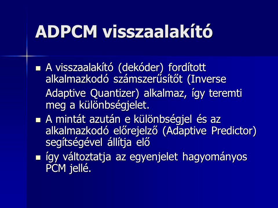ADPCM visszaalakító A visszaalakító (dekóder) fordított alkalmazkodó számszerűsítőt (Inverse.