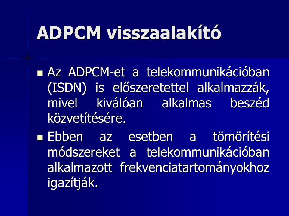 ADPCM visszaalakító Az ADPCM-et a telekommunikációban (ISDN) is előszeretettel alkalmazzák, mivel kiválóan alkalmas beszéd közvetítésére.