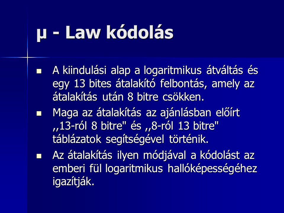 μ - Law kódolás A kiindulási alap a logaritmikus átváltás és egy 13 bites átalakító felbontás, amely az átalakítás után 8 bitre csökken.