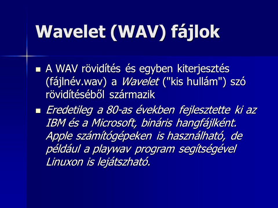 Wavelet (WAV) fájlok A WAV rövidítés és egyben kiterjesztés (fájlnév.wav) a Wavelet ( kis hullám ) szó rövidítéséből származik.