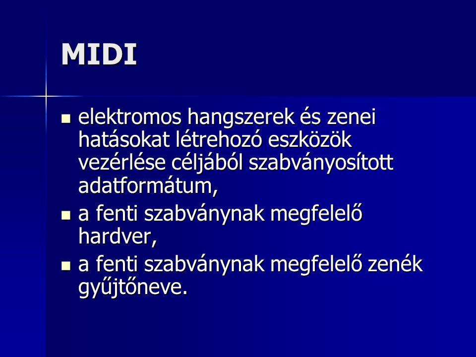 MIDI elektromos hangszerek és zenei hatásokat létrehozó eszközök vezérlése céljából szabványosított adatformátum,