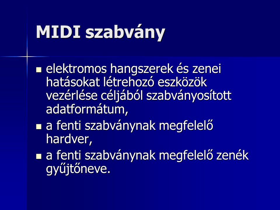 MIDI szabvány elektromos hangszerek és zenei hatásokat létrehozó eszközök vezérlése céljából szabványosított adatformátum,
