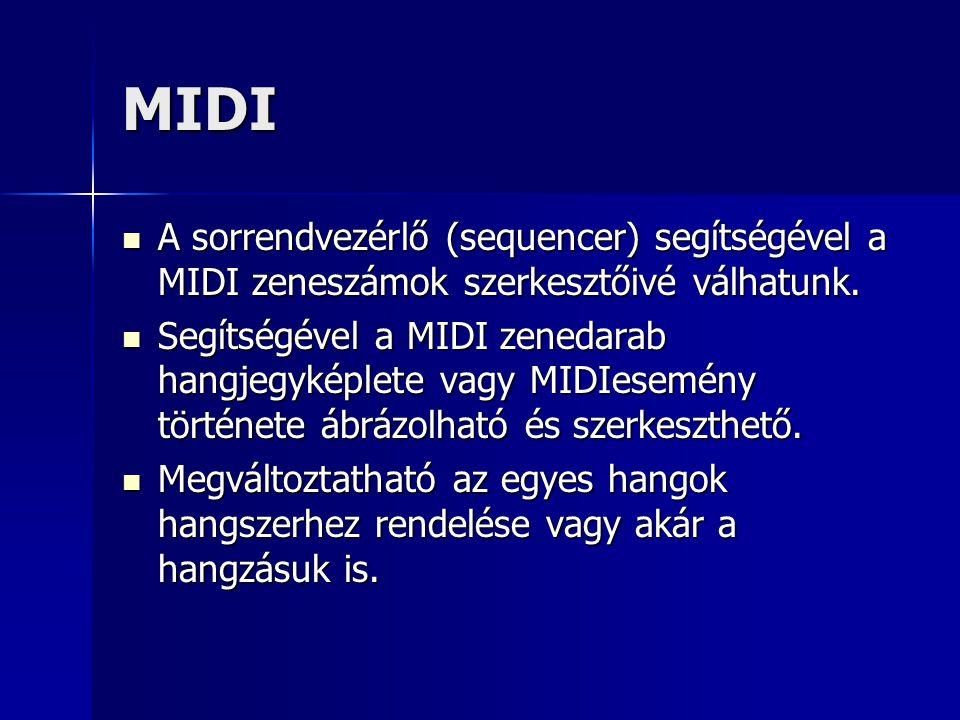 MIDI A sorrendvezérlő (sequencer) segítségével a MIDI zeneszámok szerkesztőivé válhatunk.