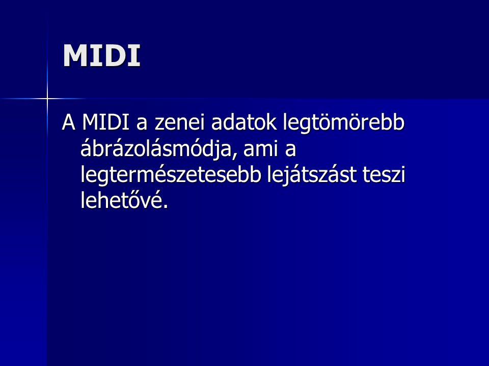 MIDI A MIDI a zenei adatok legtömörebb ábrázolásmódja, ami a legtermészetesebb lejátszást teszi lehetővé.