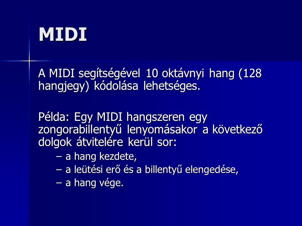 MIDI A MIDI segítségével 10 oktávnyi hang (128 hangjegy) kódolása lehetséges.
