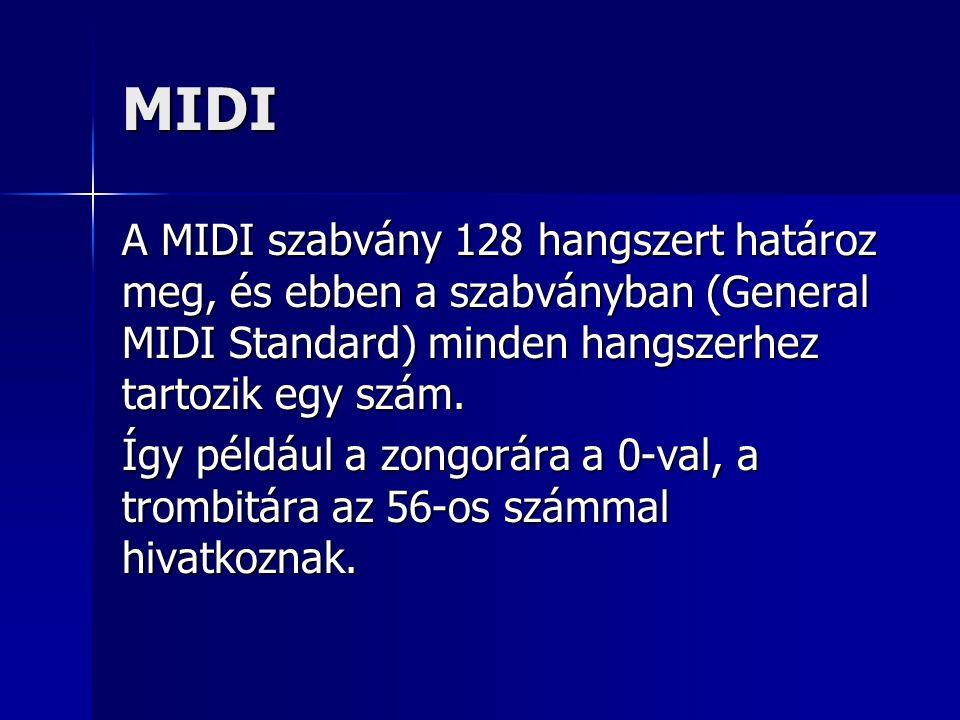 MIDI A MIDI szabvány 128 hangszert határoz meg, és ebben a szabványban (General MIDI Standard) minden hangszerhez tartozik egy szám.