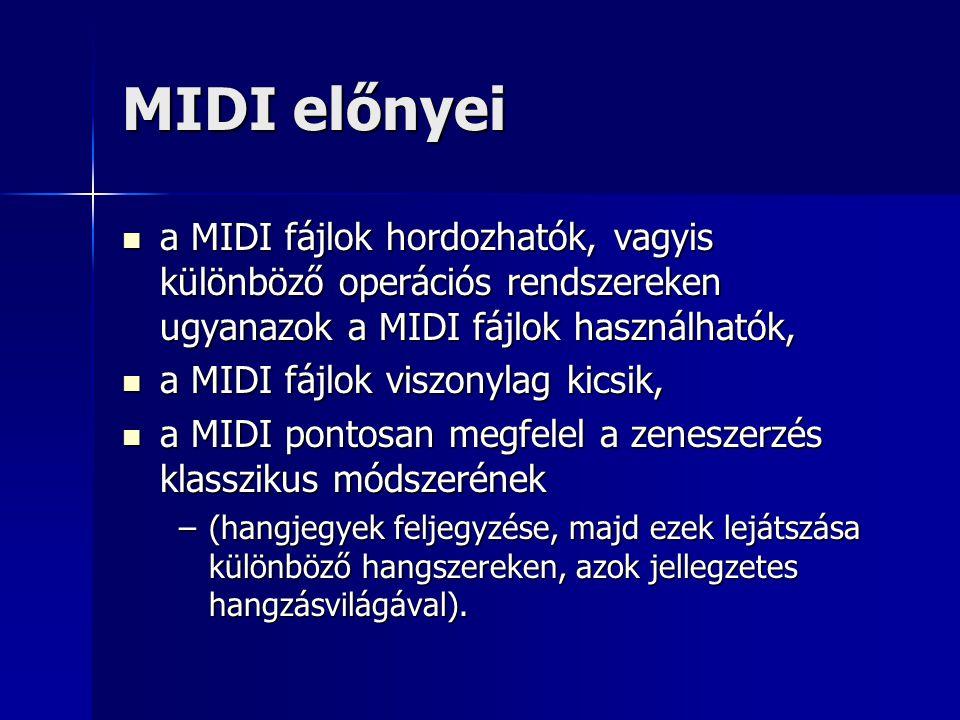 MIDI előnyei a MIDI fájlok hordozhatók, vagyis különböző operációs rendszereken ugyanazok a MIDI fájlok használhatók,