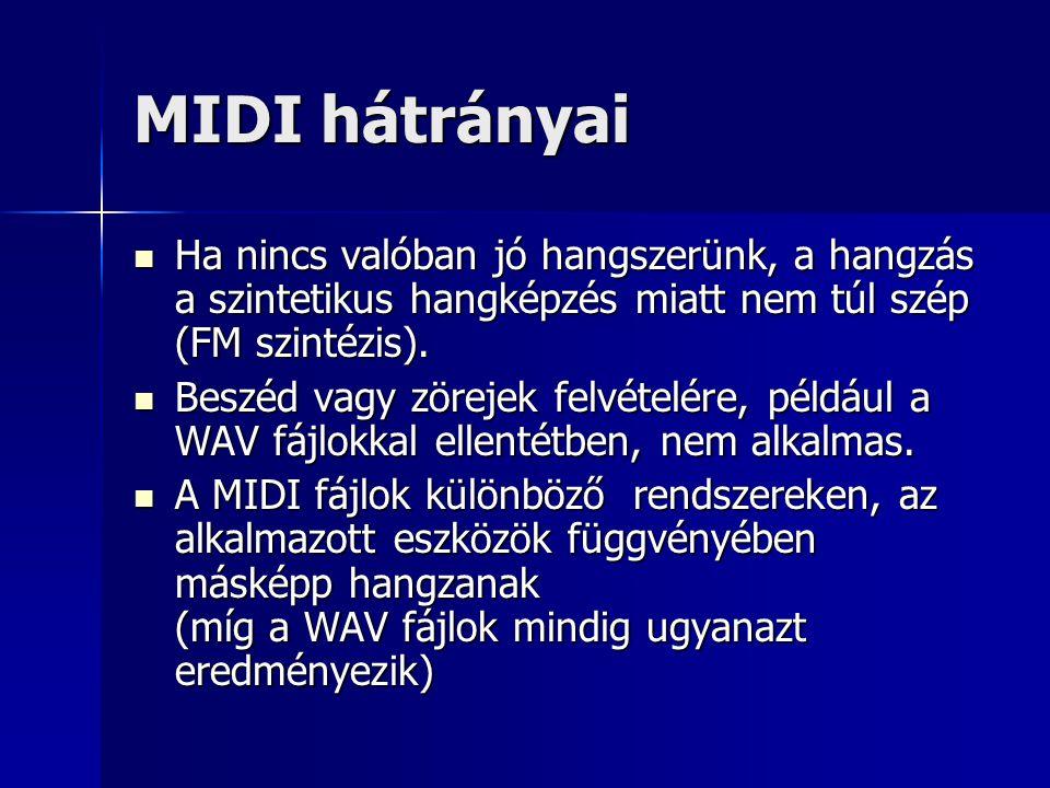 MIDI hátrányai Ha nincs valóban jó hangszerünk, a hangzás a szintetikus hangképzés miatt nem túl szép (FM szintézis).