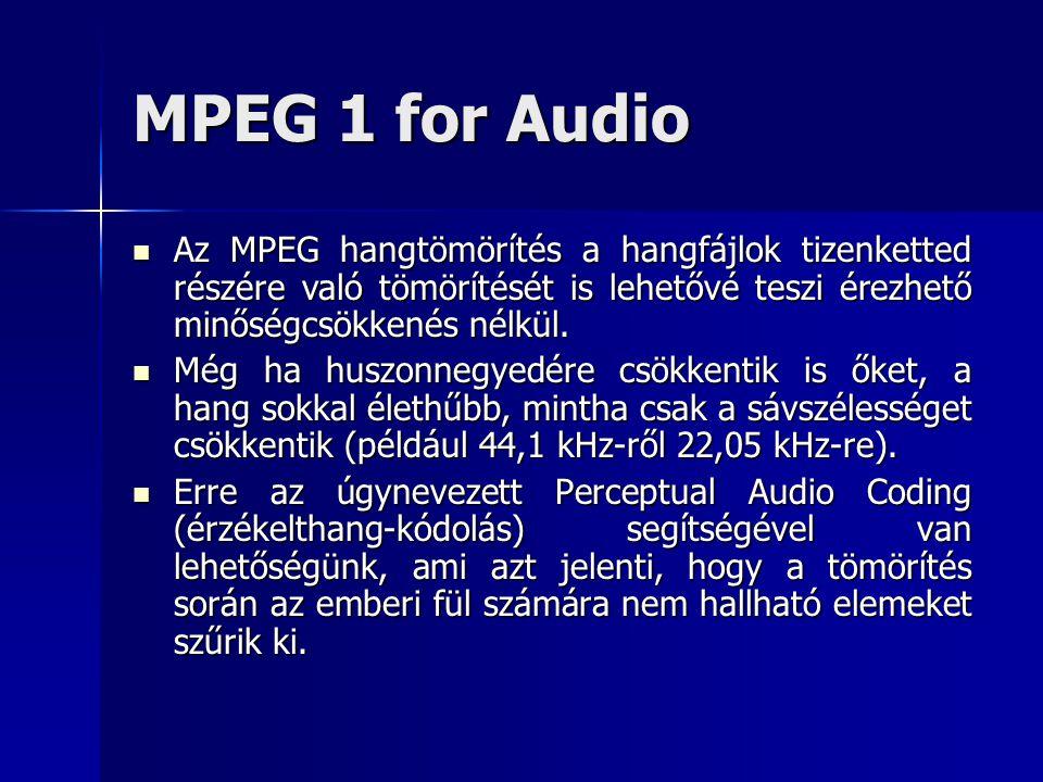 MPEG 1 for Audio Az MPEG hangtömörítés a hangfájlok tizenketted részére való tömörítését is lehetővé teszi érezhető minőségcsökkenés nélkül.