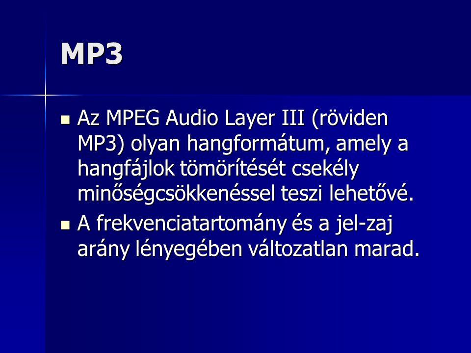 MP3 Az MPEG Audio Layer III (röviden MP3) olyan hangformátum, amely a hangfájlok tömörítését csekély minőségcsökkenéssel teszi lehetővé.
