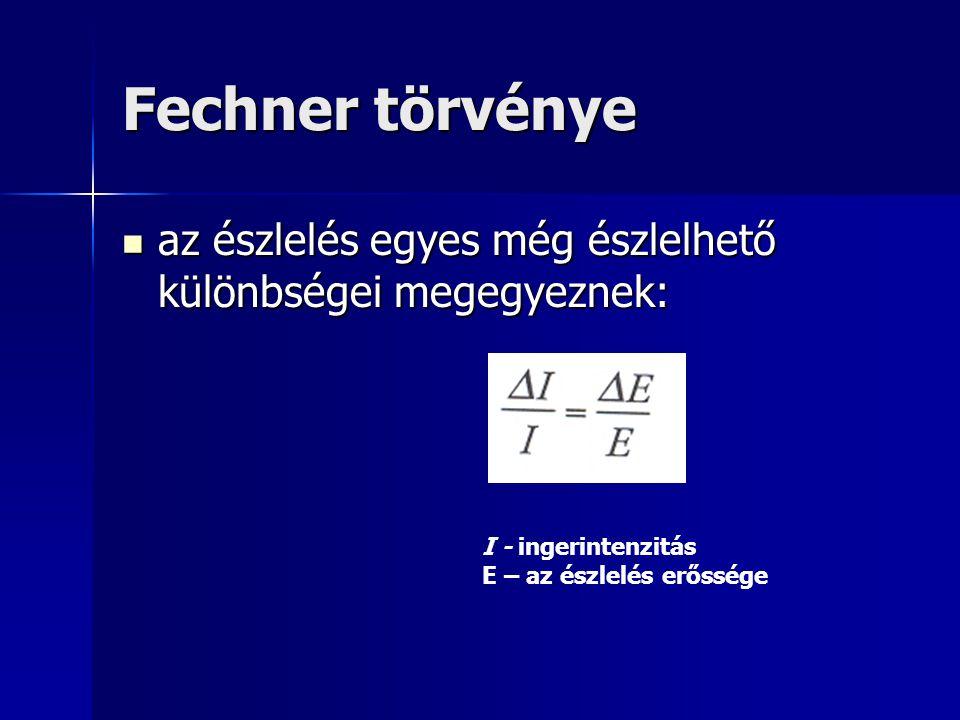 Fechner törvénye az észlelés egyes még észlelhető különbségei megegyeznek: I - ingerintenzitás E – az észlelés erőssége.