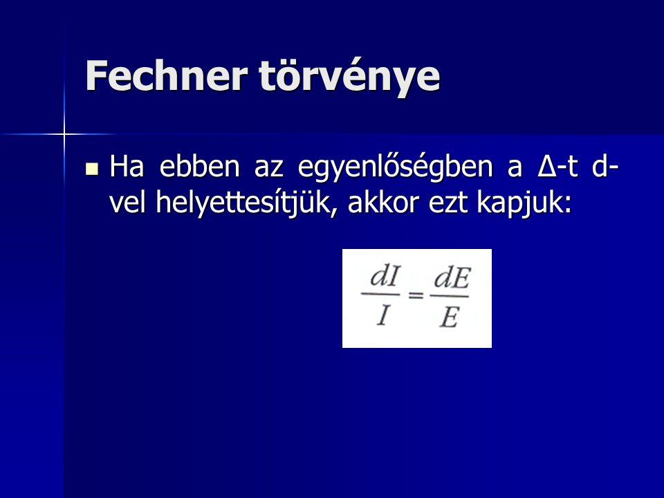 Fechner törvénye Ha ebben az egyenlőségben a Δ-t d-vel helyettesítjük, akkor ezt kapjuk: