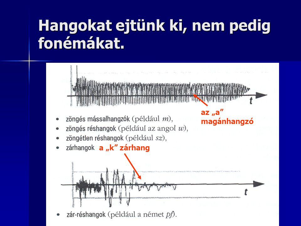 Hangokat ejtünk ki, nem pedig fonémákat.