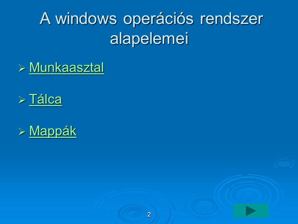 A windows operációs rendszer alapelemei