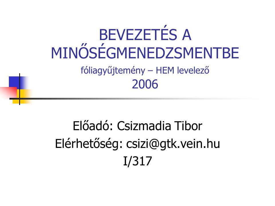 BEVEZETÉS A MINŐSÉGMENEDZSMENTBE fóliagyűjtemény – HEM levelező 2006