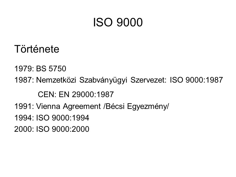 ISO 9000 Története CEN: EN 29000:1987 1979: BS 5750