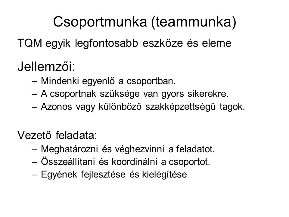 Csoportmunka (teammunka)