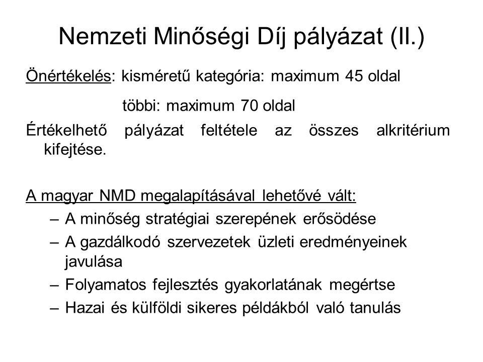 Nemzeti Minőségi Díj pályázat (II.)