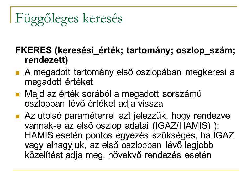Függőleges keresés FKERES (keresési_érték; tartomány; oszlop_szám; rendezett) A megadott tartomány első oszlopában megkeresi a megadott értéket.