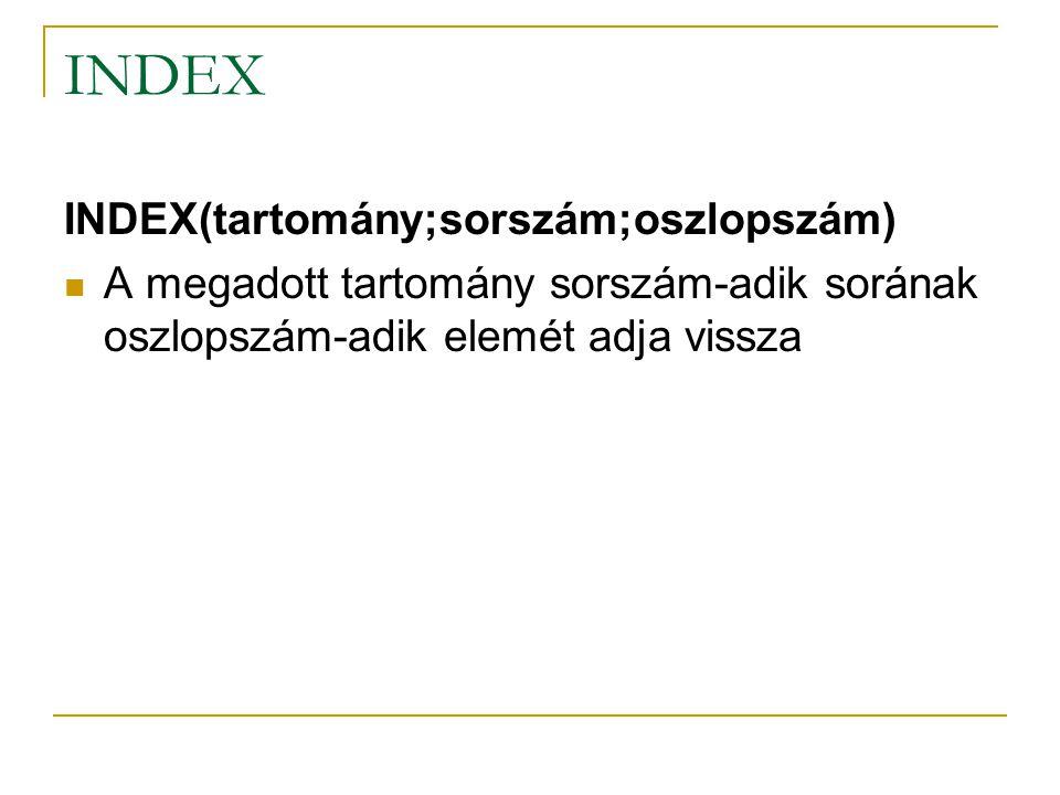 INDEX INDEX(tartomány;sorszám;oszlopszám)