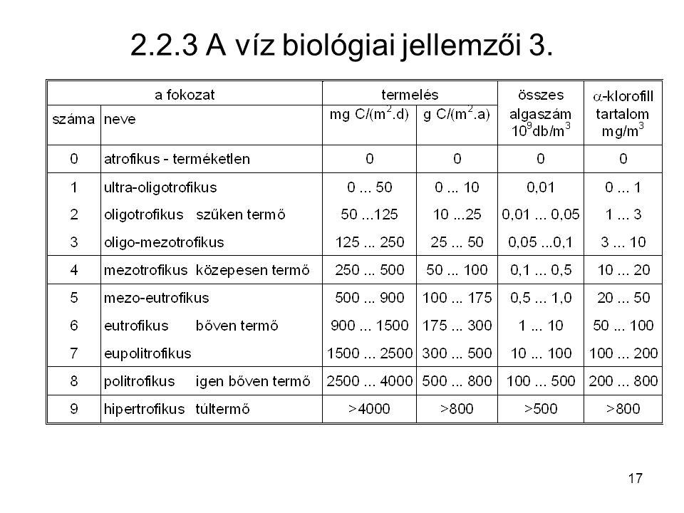 2.2.3 A víz biológiai jellemzői 3.