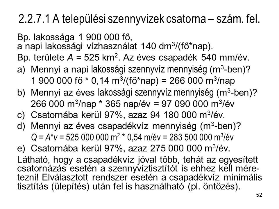 2.2.7.1 A települési szennyvizek csatorna – szám. fel.