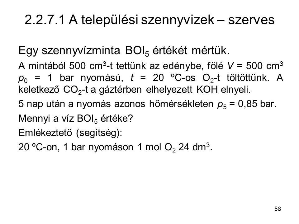 2.2.7.1 A települési szennyvizek – szerves