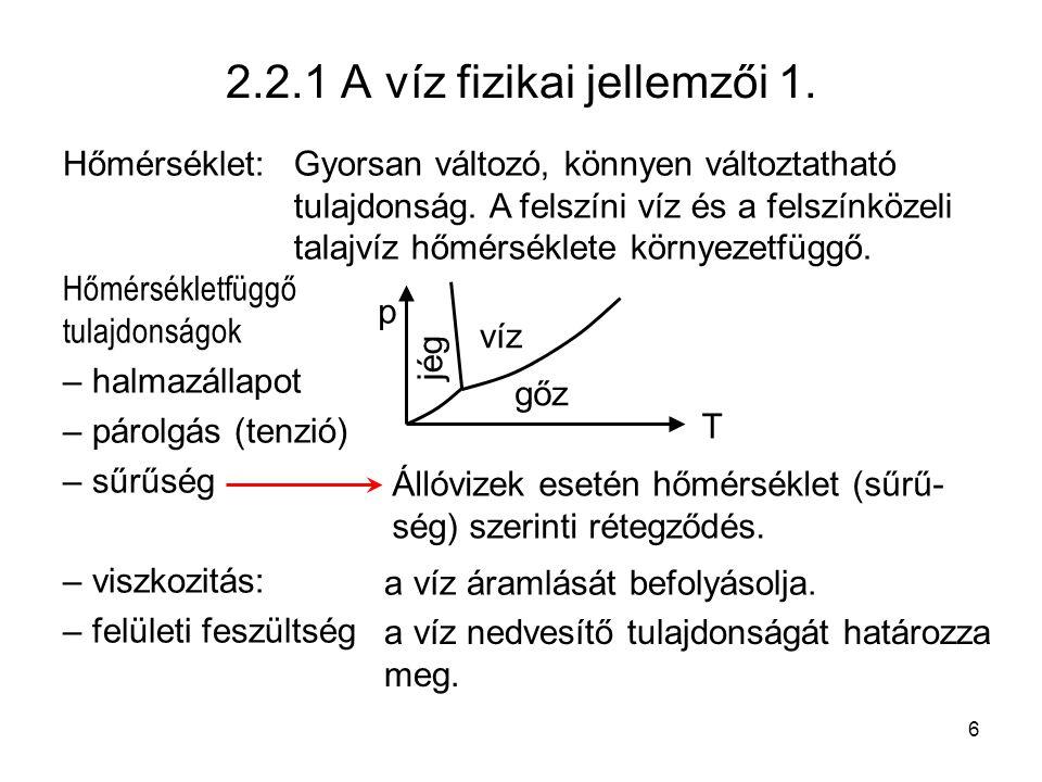 2.2.1 A víz fizikai jellemzői 1.