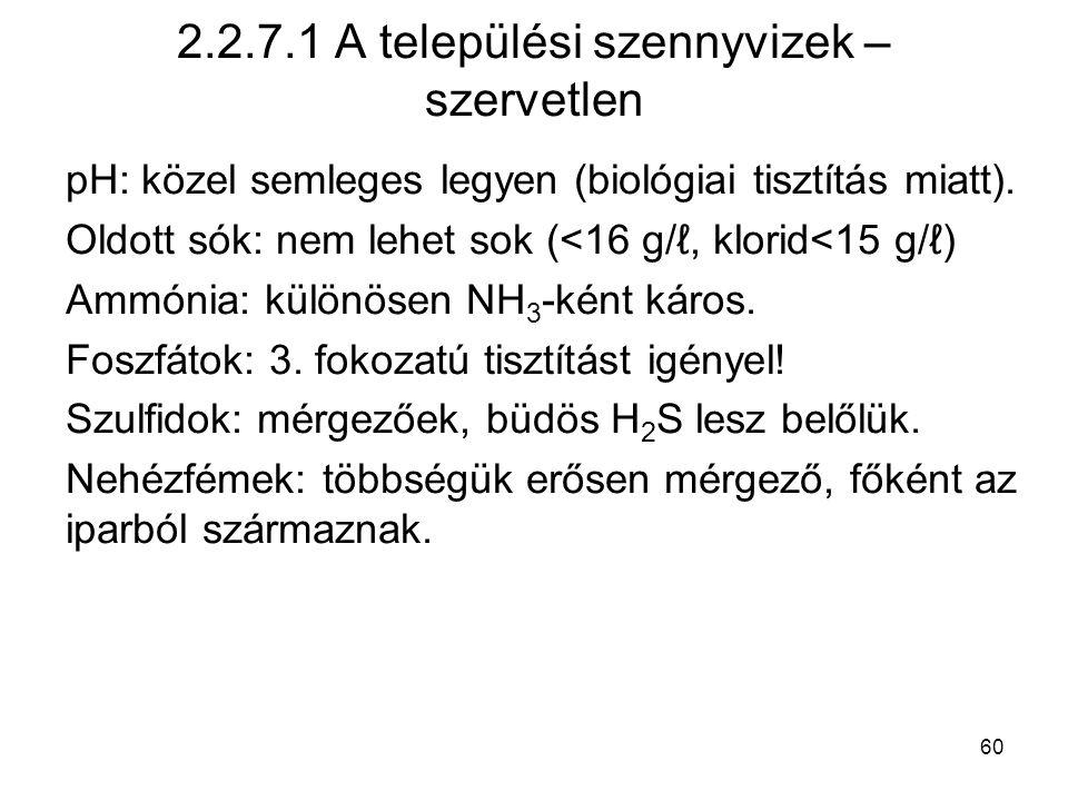2.2.7.1 A települési szennyvizek – szervetlen