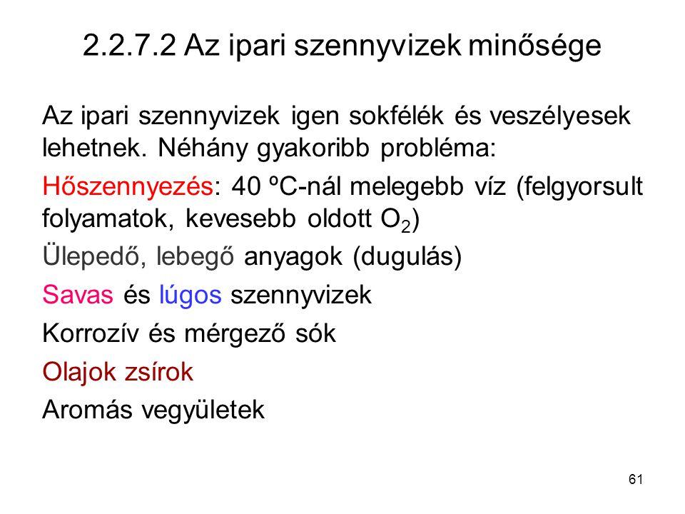 2.2.7.2 Az ipari szennyvizek minősége