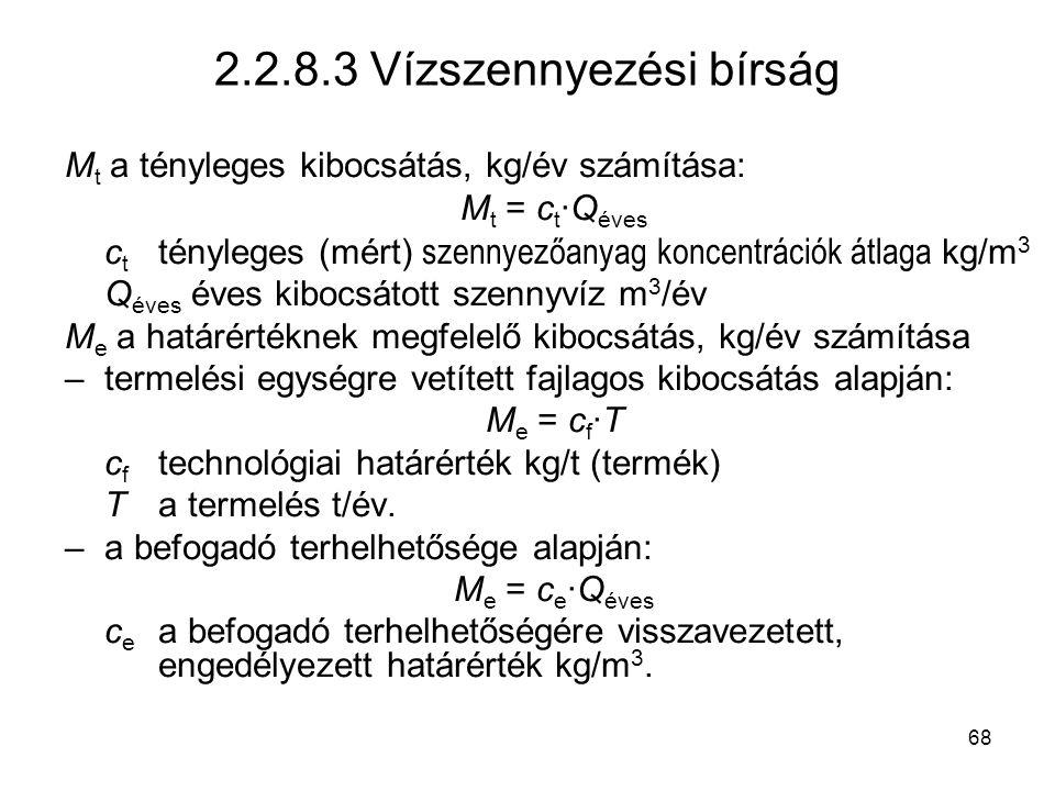 2.2.8.3 Vízszennyezési bírság