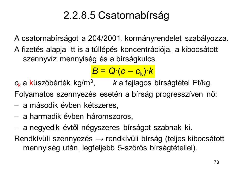 2.2.8.5 Csatornabírság B = Q·(c – ck)·k