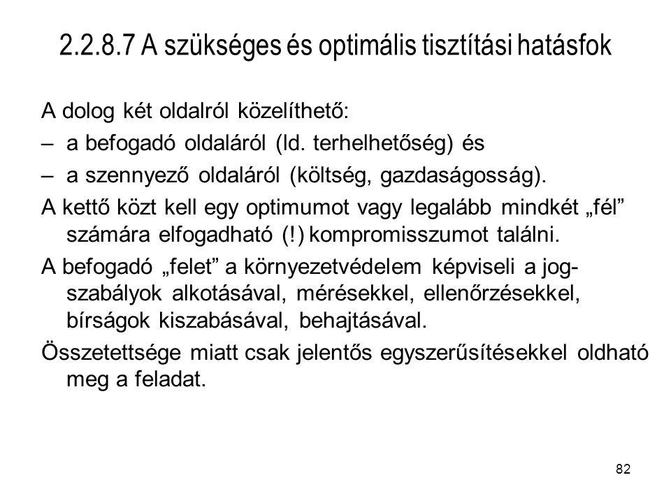 2.2.8.7 A szükséges és optimális tisztítási hatásfok