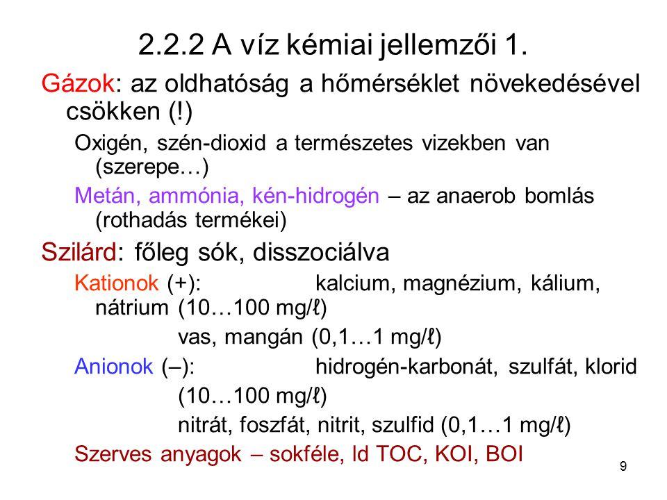 2.2.2 A víz kémiai jellemzői 1. Gázok: az oldhatóság a hőmérséklet növekedésével csökken (!)