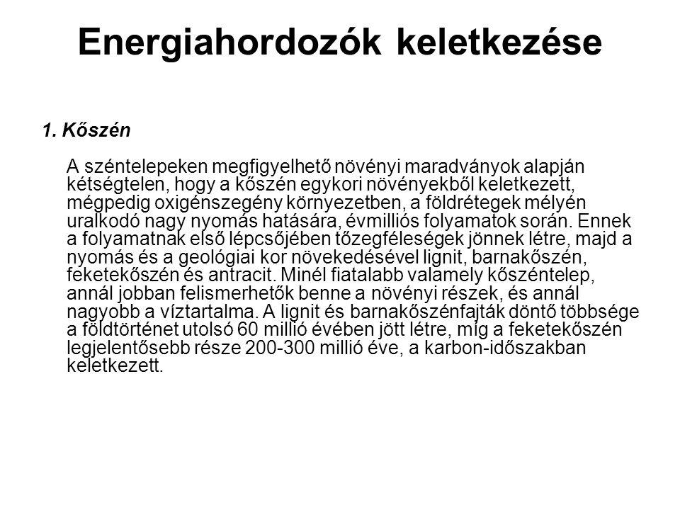 Energiahordozók keletkezése